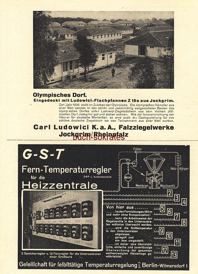 Werbe-Anzeige / Werbung/Reklame Olympisches Dorf - Ludowici-Flachpfannen Z 15a aus Jockgrim - Falzziegelwerke Carl Ludowici, Jockgrim / Rheinpfalz (BG36/6)