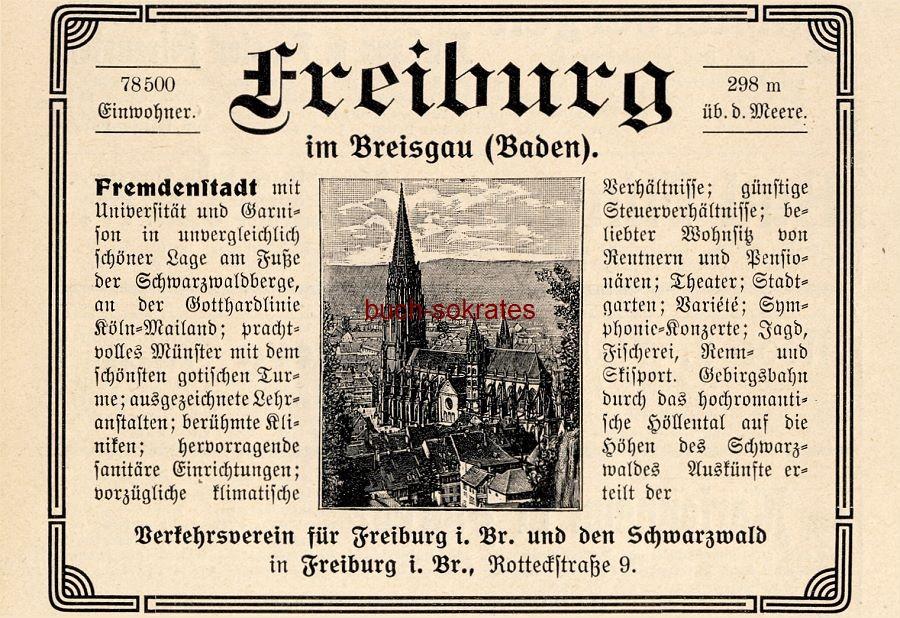 Werbe-Anzeige / Werbung/Reklame Freiburg im Breisgau - Verkehrsverein für Freiburg i.Br. (DK08)