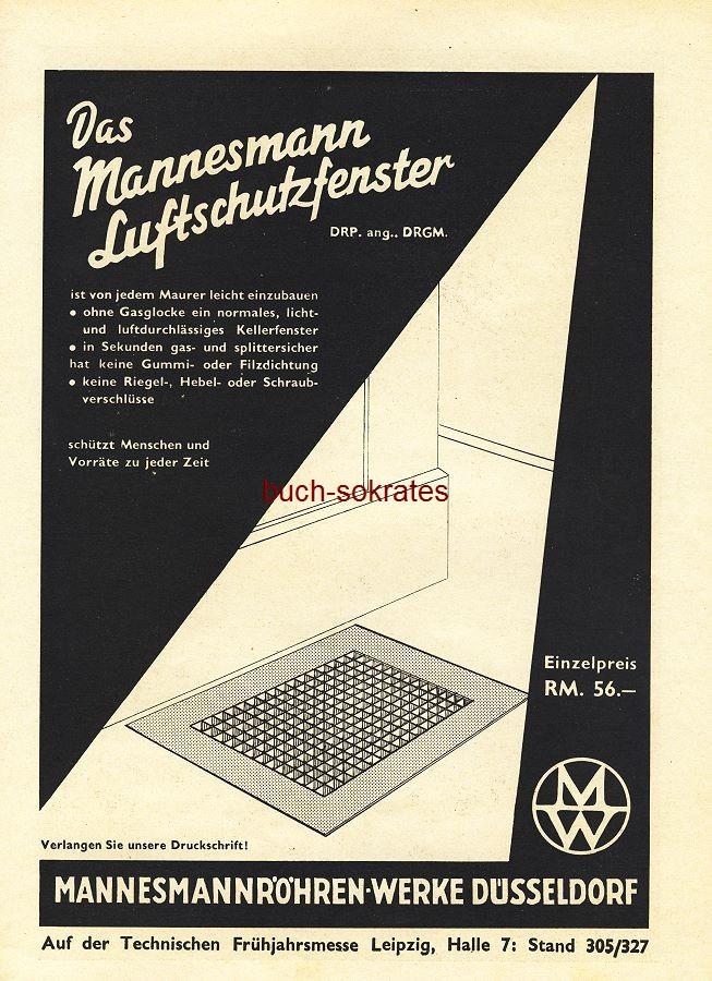 Werbe-Anzeige / Werbung/Reklame Mannesmann Luftschutzfenster - Mannesmannröhren-Werke, Düsseldorf (BG36/6)