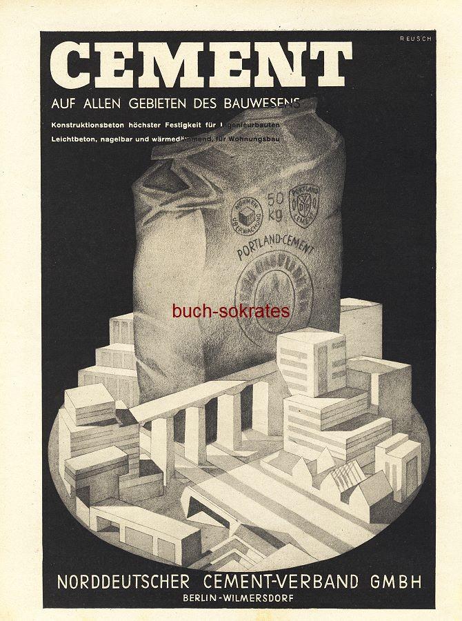 Werbe-Anzeige / Werbung/Reklame Portland-Cement - Norddeutscher Cement-Verband GmbH, Berlin (BG36/6)
