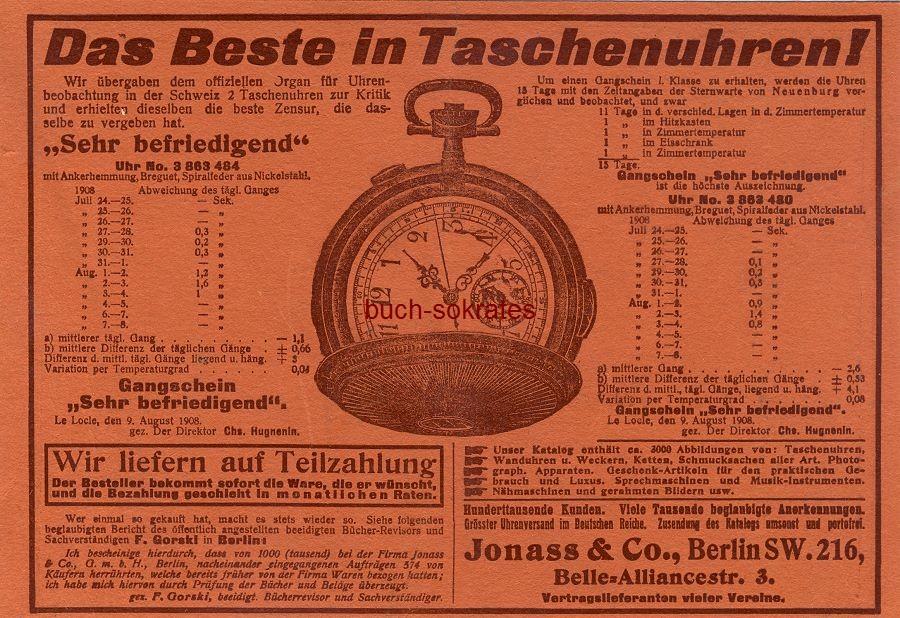Werbe-Anzeige / Werbung/Reklame Taschenuhren - Jonass & Co., Berlin, Belle-Alliancestr. 3 (DW08/47)