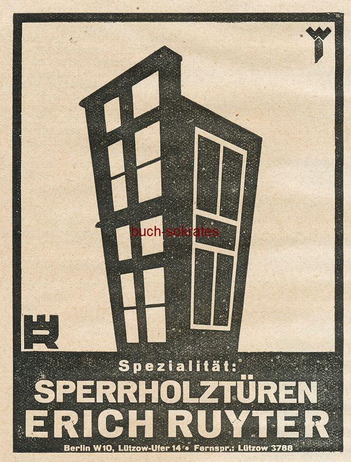 Werbe-Anzeige / Werbung/Reklame Sperrholztüren - Erich Ruyter, Berlin W 10, Lützow-Ufer 14 (BG27/18)