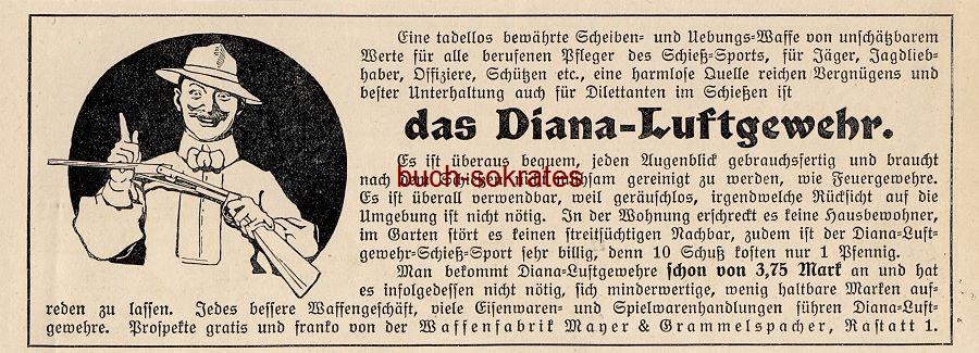 Werbe-Anzeige / Werbung/Reklame Diana-Luftgewehr - Waffenfabrik Mayer & Grammelspacher, Rastatt (DW13/39)