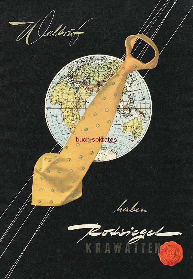 Werbe-Anzeige / Werbung/Reklame Konvolut Annoncen Werbegraphik 50er Jahre: Rotsiegel-Krawatten (1956)