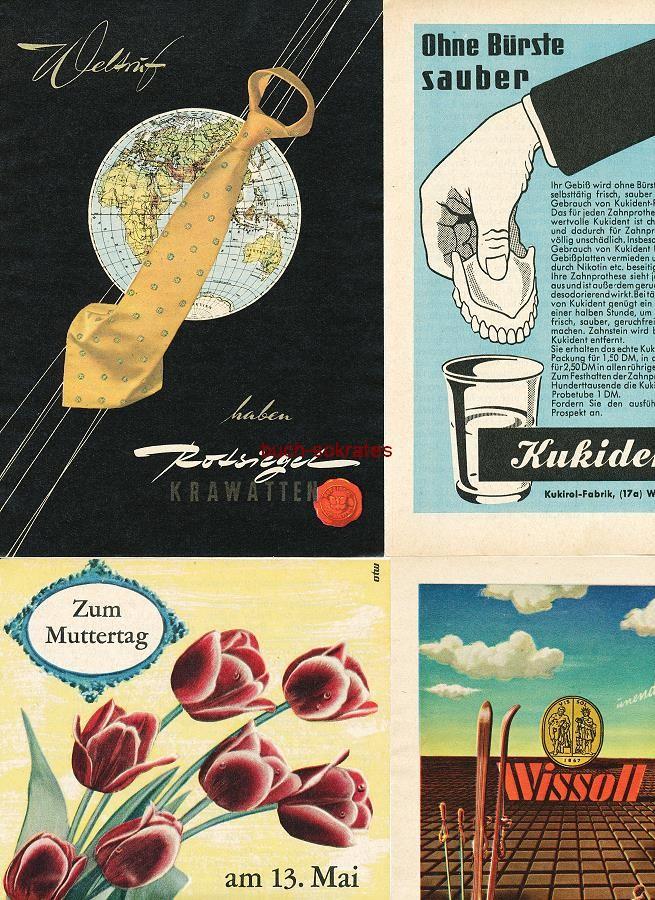Werbe-Anzeige / Werbung/Reklame Konvolut Annoncen Werbegraphik 50er Jahre: Rotsiegel-Krawatten, Kukident, Fleurop, Wissoll Kakao Schokolade Pralinen, Velveta Streichkäse, Tetra Vitol, Rennie, Bradoral, Knorr Rindfleisch-Suppe (1952-57)