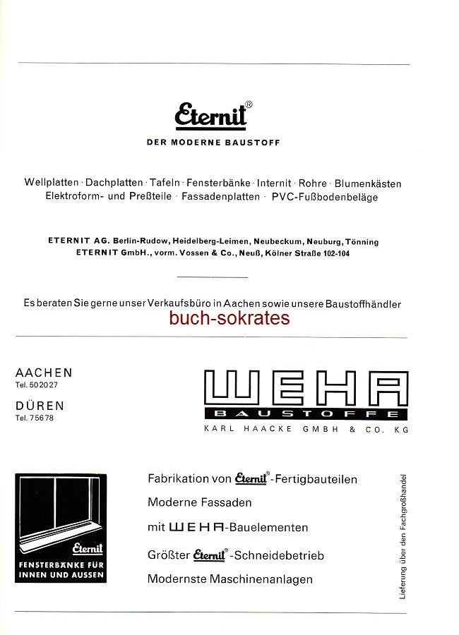 Werbe-Anzeige / Werbung/Reklame Eternit AG, Berlin - Weha Baustoffe Karl Haacke GmbH & Co. KG, Aachen, Düren (SP70)