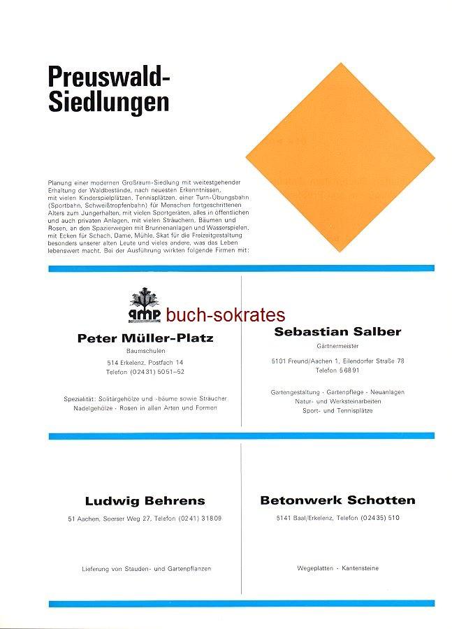 Werbe-Anzeige / Werbung/Reklame Preuswald-Siedlungen Aachen: Baumschulen Peter-Müller-Platz, Erkelenz - Gärtnermeister Sebastian Salber, Freund/Aachen - Stauden- und Gartenpflanzen Ludwig Behrens, Aachen, Soerser Weg 27 - Betonwerk Schotten, Baal/Erkelenz (SP70)
