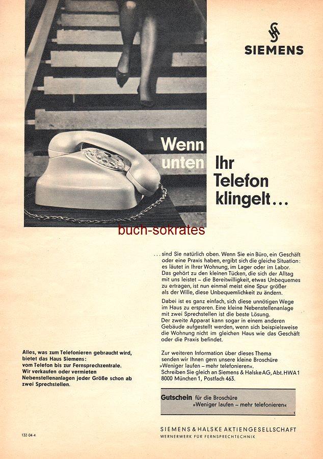 Werbe-Anzeige / Werbung/Reklame Siemens Telefon - Wenn unten Ihr Telefon klingelt… - Siemens & Halske AG (AM62/25)