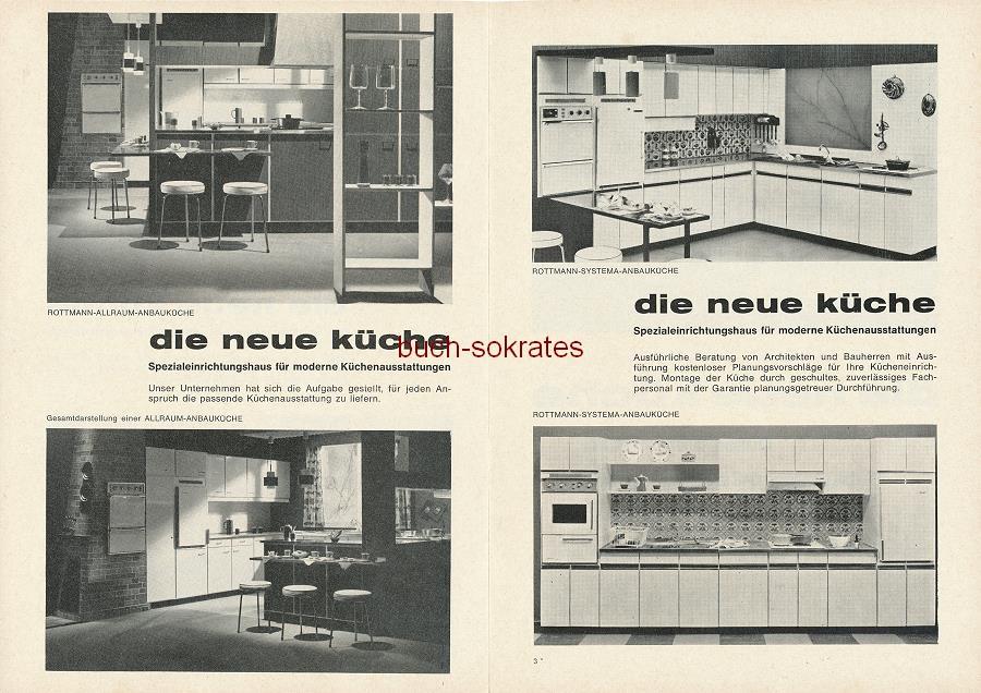 Werbe-Anzeige / Werbung/Reklame die neue küche - Spezialeinrichtungshaus für moderne Küchenausstattungen - Düsseldorfs erstes Einbauküchen-Spezialgeschäft mit 3 Etagen Ausstellungsfläche - die neue küche, Düsseldorf, Klosterstr. 30 an der Börse (SE64)