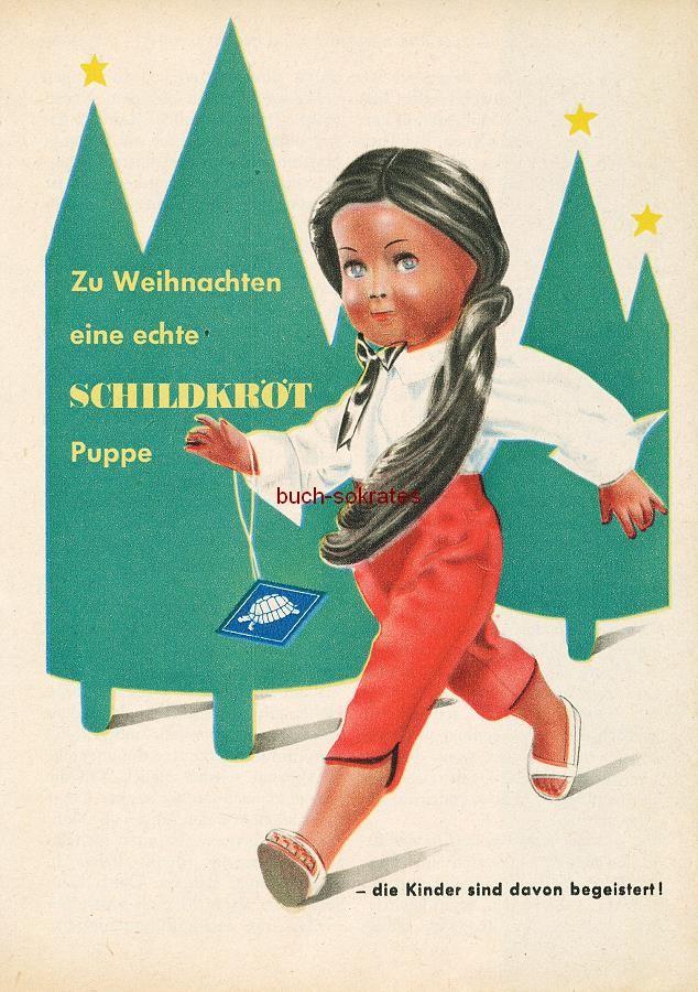 Werbe-Anzeige / Werbung/Reklame Konvolut Annoncen Werbegraphik 50er Jahre: Schildkröt-Puppe (1954)