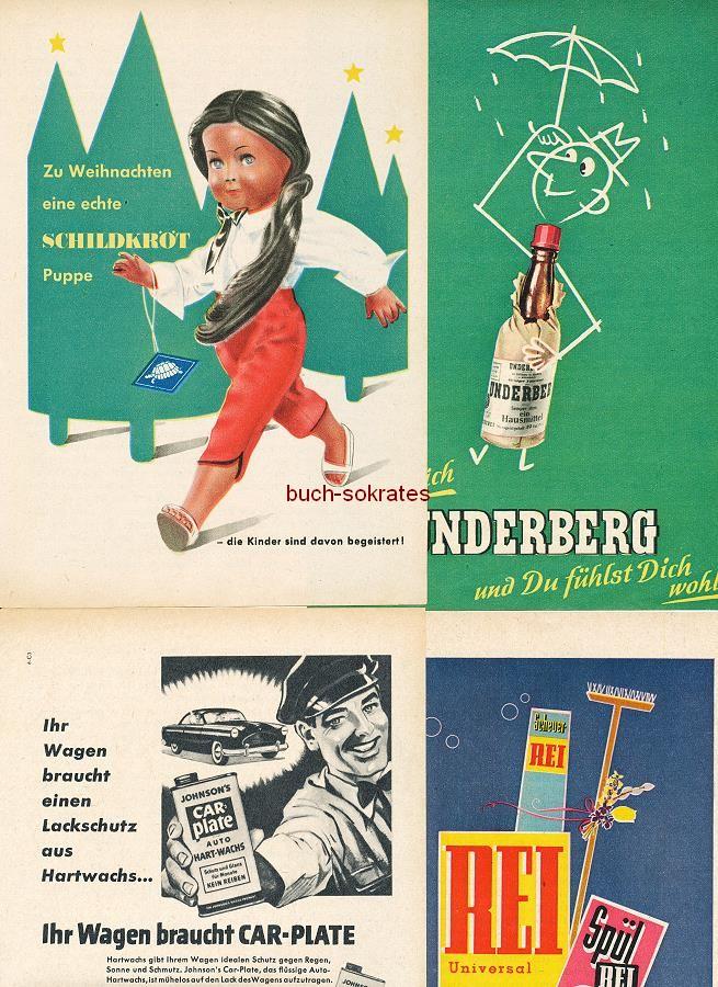 Werbe-Anzeige / Werbung/Reklame Konvolut Annoncen Werbegraphik 50er Jahre: Schildkröt-Puppe, Underberg, Car-Plate Autowachs, Cutex-Nagellack, Eterna-Herrenhemd, Wissoll-Kakao, Rei, Knorr Florentiner Suppe (1952-61)