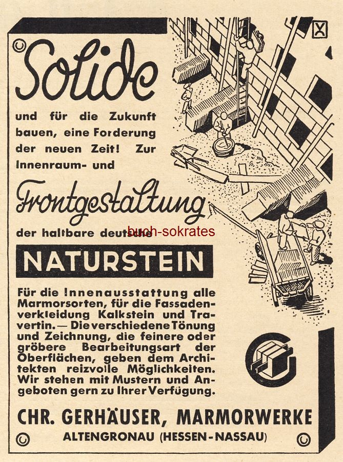 Werbe-Anzeige / Werbung/Reklame Naturstein Gerhäuser - Chr. Gerhäuser, Marmorwerke, Altengronau (Hessen-Nassau) (BG36/4)