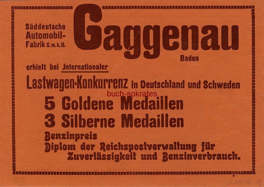 Werbe-Anzeige / Werbung/Reklame Süddeutsche Automobil-Fabrik GmbH Gaggenau (DW09/29)