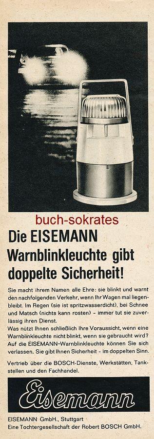 Werbe-Anzeige / Werbung/Reklame Verso Eisemann Warnblinkleuchte - Eisemann GmbH, Stuttgart (AM65/23)