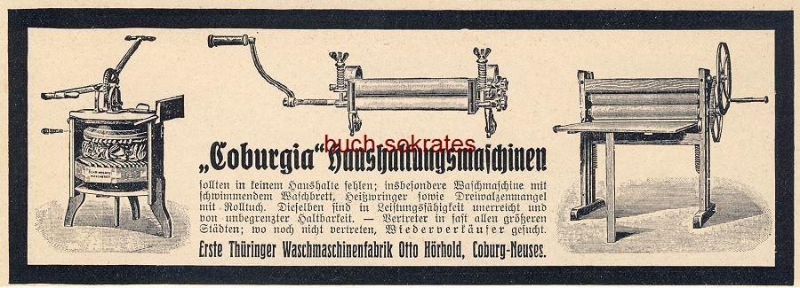 Werbe-Anzeige / Werbung/Reklame Coburgia Haushaltungsmaschinen - Erste Thüringer Waschmaschinenfabrik Otto Hörhold, Coburg-Neuses (DW10/41)