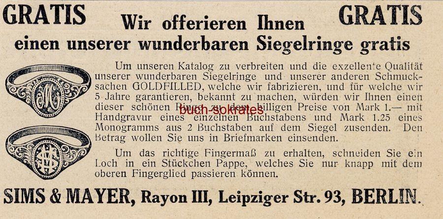 Werbe-Anzeige / Werbung/Reklame Siegelringe - Sims & Mayer, Rayon III, Berlin, Leipziger Str. 93 (DW11/14)