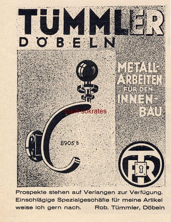 Werbe-Anzeige / Werbung/Reklame Metallarbeiten für den Innenausbau - Rob. Tümmler, Döbeln (BG30/22)