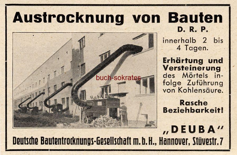 Werbe-Anzeige / Werbung/Reklame Austrocknung von Bauten - Deutsche Bautentrocknungs-Gesellschaft mbH Deuba, Hannover, Stüvestr. 7 (BG36/2/4/5)