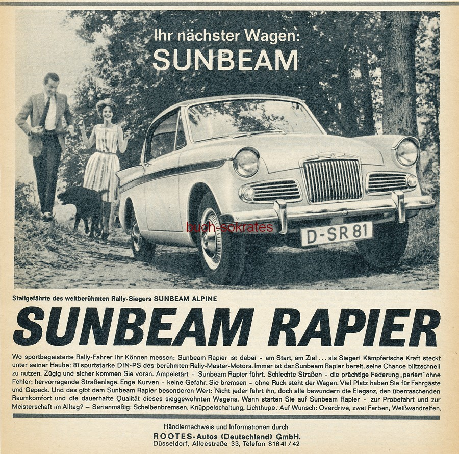 werbung anzeige sunbeam rapier rootes autos d sseldorf 1962 ebay. Black Bedroom Furniture Sets. Home Design Ideas