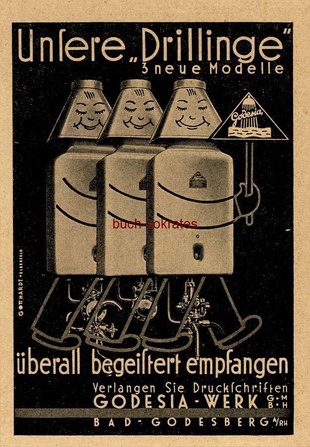 Werbe-Anzeige / Werbung/Reklame Godesia Heißwasserapparate Drillinge (3 neue Modelle) - Godesia-Werk GmbH, Bad Godesberg a.Rh. (BG34/18)