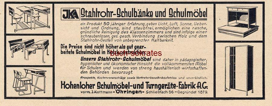 Werbe-Anzeige / Werbung/Reklame JKA Stahlrohr-Schulbänke und Schulmöbel - Hohenloher Schulmöbel- und Turgeräte-Fabrik AG (BG30/22)