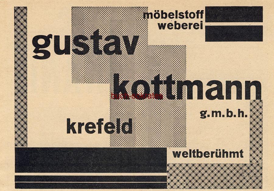 Werbe-Anzeige / Werbung/Reklame Kottmann Möbelstoff, Weberei - Gustav Kottmann GmbH, Krefeld (BG30/5)