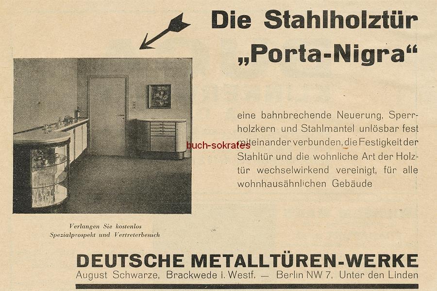 Werbe-Anzeige / Werbung/Reklame Stahlholztür Porta-Nigra - Sperrholzkern und Stahlmantel - Deutsche Metalltüren-Werke August Schwarze, Brackwede i. Westf. (BG0729)