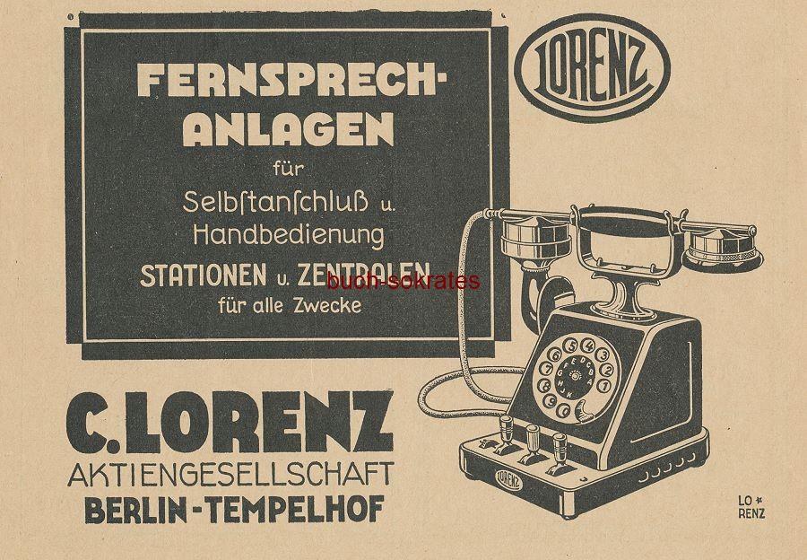 Werbe-Anzeige / Werbung/Reklame Lorenz Fernsprech-Anlagen / Telefone - C. Lorenz AG, Berlin-Tempelhof (BG27/12)