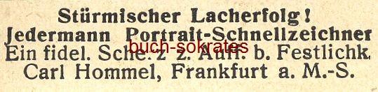 Werbe-Anzeige / Werbung/Reklame Stürmischer Lacherfolg! - Portrait-Schnellzeichner Carl Hommel, Frankfurt a.M. (DW09/02)