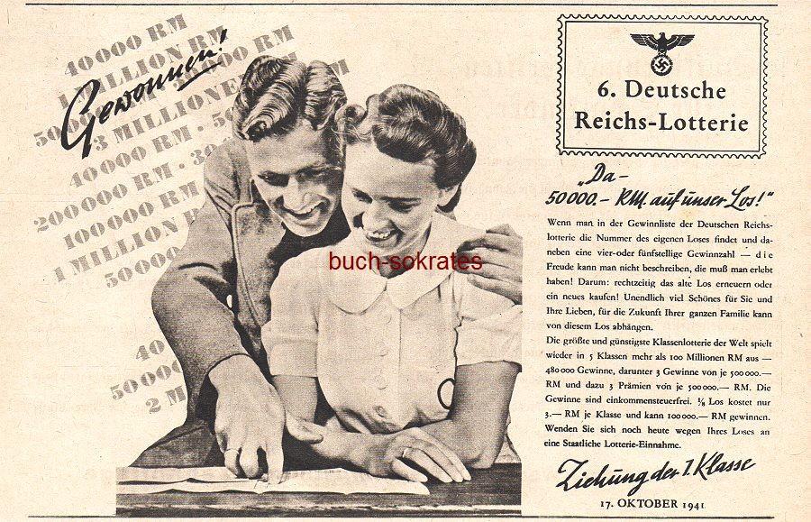 Werbe-Anzeige / Werbung/Reklame 6. Deutsche Reichs-Lotterie (SP41)