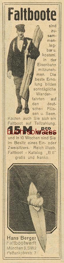 Werbe-Anzeige / Werbung/Reklame Faltboote - Hans Berger, Faltbootwerft München, Pettenkoferstr. 7 (BI26/9/12)