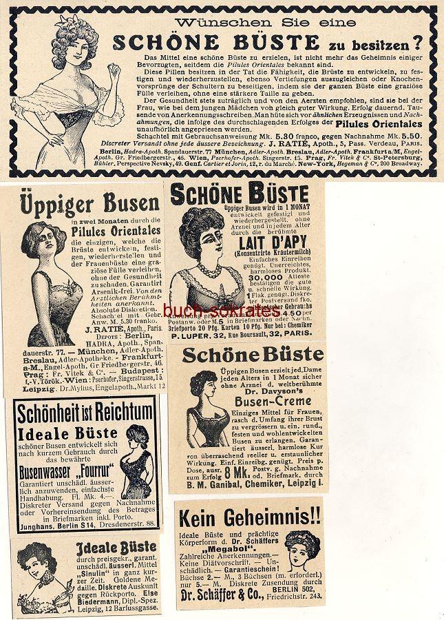 Werbe-Anzeige / Werbung/Reklame 7 x Büste, Brüste, Busen: Ideale Büste / Üppiger Busen - Pilules Orientales / Lait d Apy / Megabol / Sinulin / Dr. Davyson s Busen-Creme (DW08/14/DW08/46/DW08/45/DW09/32/DW09/02/DW09/02/DW10/41)