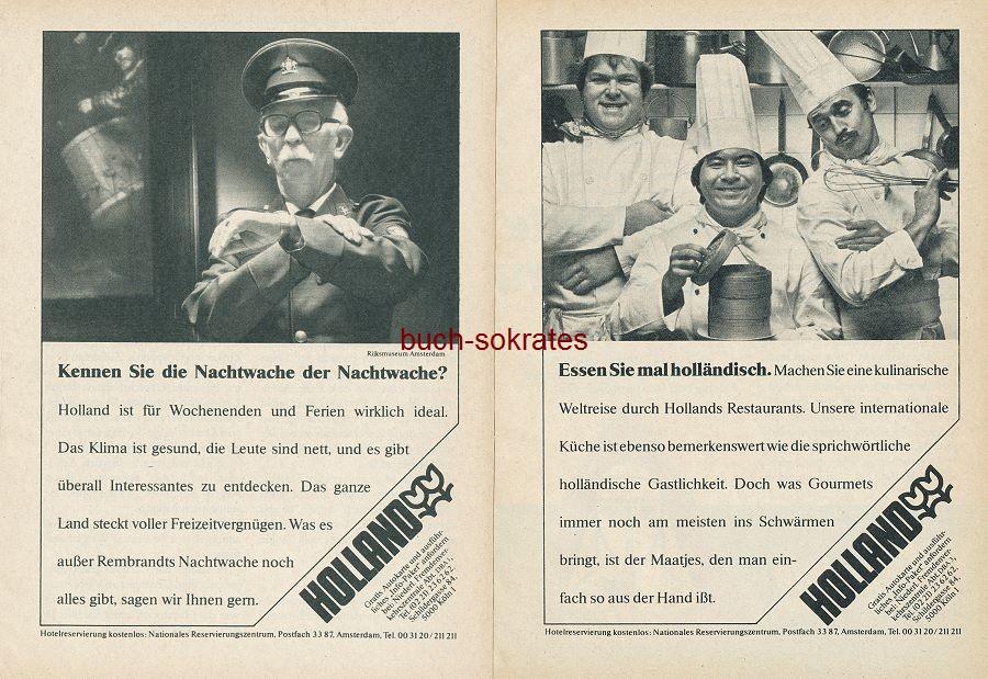 Werbe-Anzeige / Werbung/Reklame Niederländisches Fremdenverkehrszentrale: Tourismus-Informationen zu Holland / Niederlande: Rijksmuseum Amsterdam, Holländische Küche, Het Nationaal Museum van Speeldose tot Pierement Utrecht, Radfahrurlaub (RD80/4/80/4)