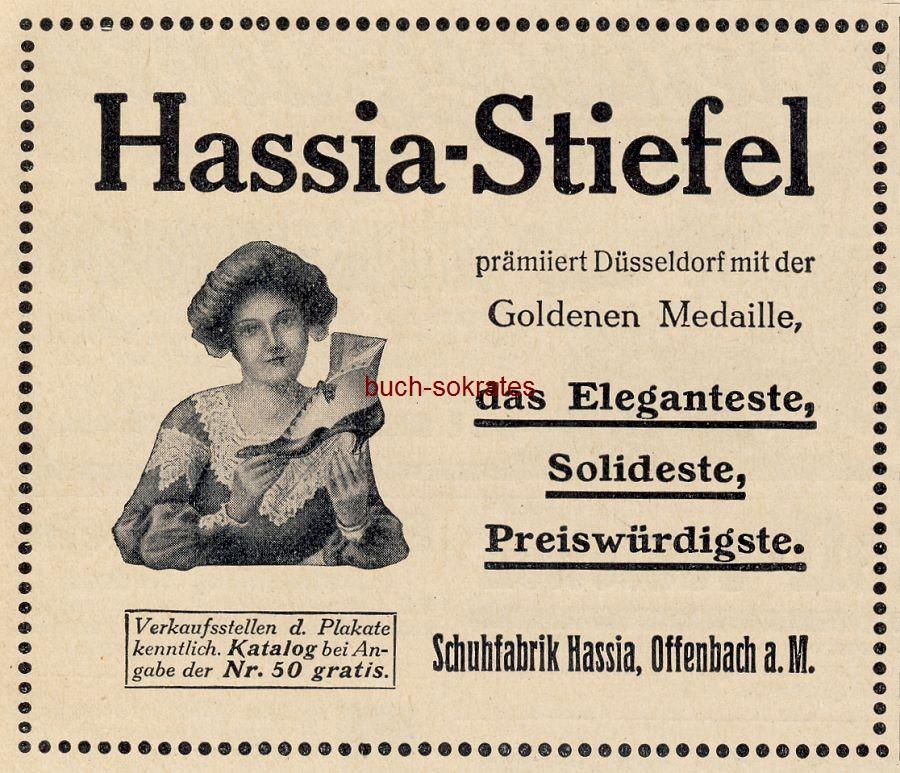 Werbe-Anzeige / Werbung/Reklame Hassia-Stiefel - Schufabrik Hassia, Offenbach a.M. (DW11/14)