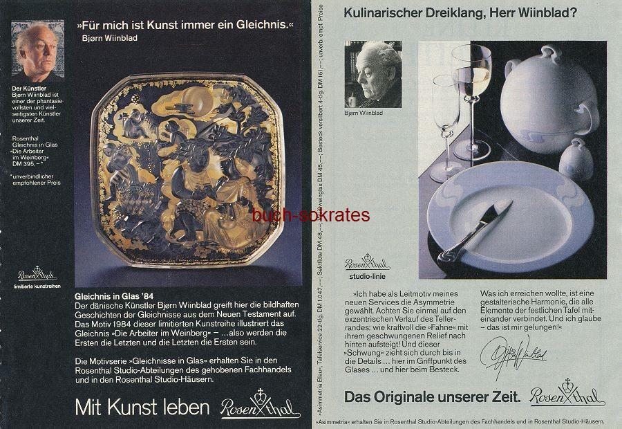 Werbe-Anzeige / Werbung/Reklame Konvolut 9 x Rosenthal-Porzellan - u.a. 6 Entwürfe von Björn Wiinblad (RD84/6/85/10)