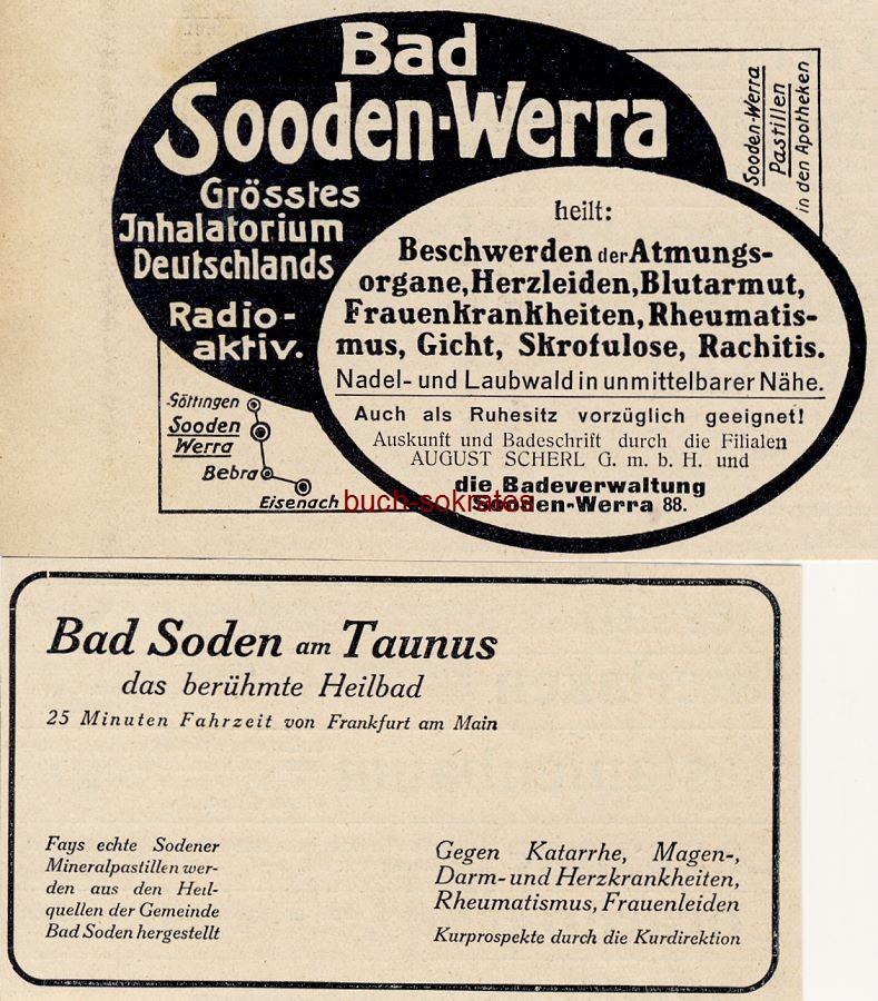 Werbe-Anzeige / Werbung/Reklame Bad Soden am Taunus - das berühmte Heilbad / Bad Sooden-Werra - größtes Inhalatorium Deutschlands - radioaktiv (DW11/14)