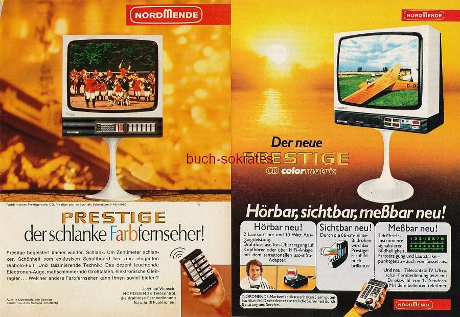 Werbe-Anzeige / Werbung/Reklame Fernseher / TV-Geräte: Prestige - Design-Klassiker mit Tulpenfuß (RD71/10/75/12)