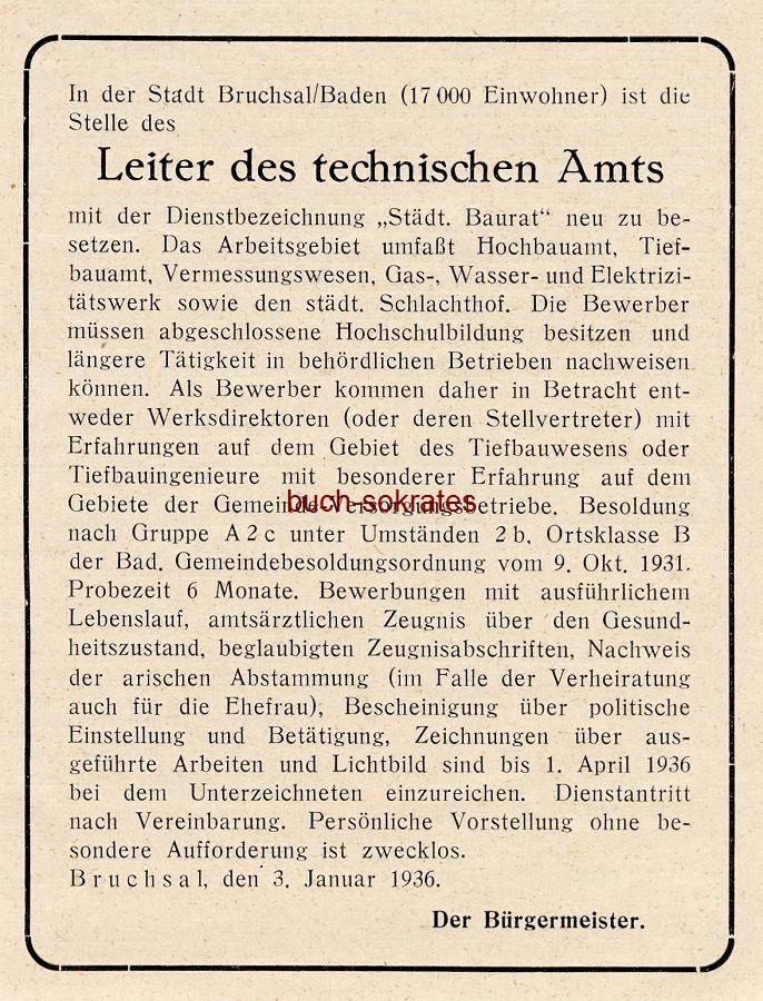 Werbe-Anzeige / Werbung/Reklame Leiter des technischen Amts - Bürgermeister Bruchsaal / Baden (BG36/2)