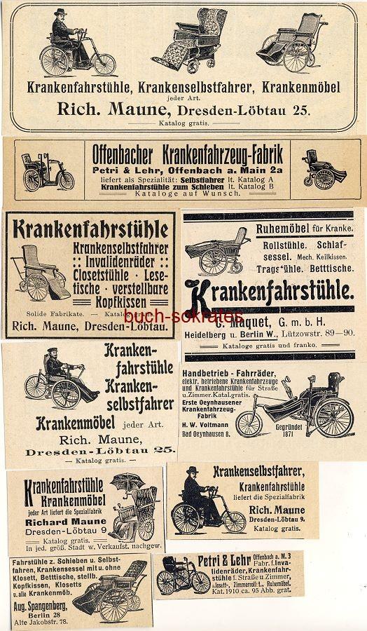 Werbe-Anzeige / Werbung/Reklame Rollstühle, Krankenstühle, Krankenfahrstühle: Rich. Maune, Dresden-Löbtau / Petri & Lehr, Offenbach / C. Maquet GmbH, Heidelberg / H.W. Voltmann, Bad Oeynhausen (DK07/DK28/DK15/DK08/DK03/BI28/29/DW13/47/DW09/32/DW09/02/DW10/52)