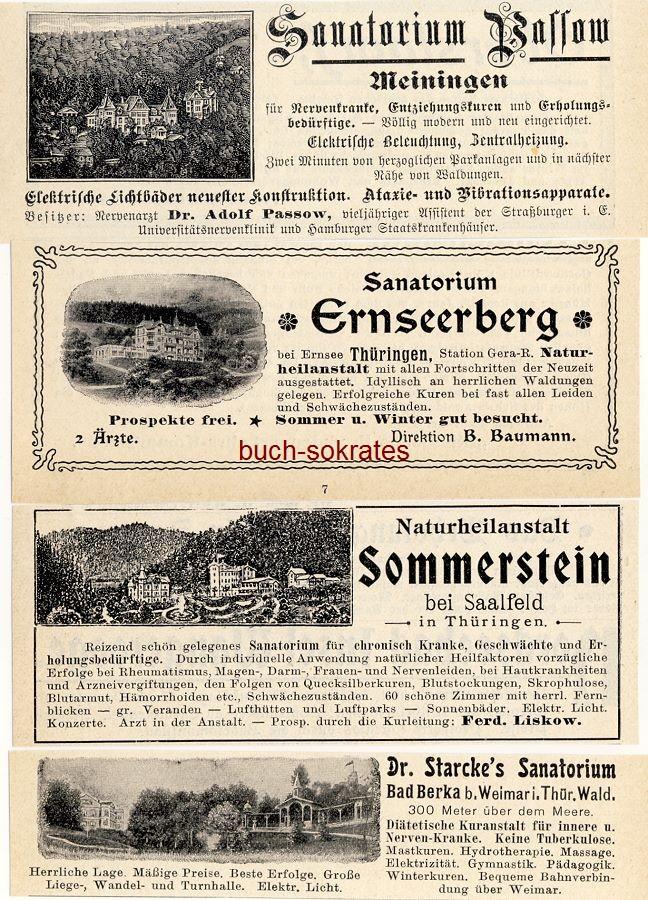 Werbe-Anzeige / Werbung/Reklame Thüringen Sanatorien: Naturheilanstalt Sommerstein bei Saalfeld - Dr. Starckes Sanatorium Bad Berka - Sanatorium Ernseeberg bei Ernsee - Sanatorium Passow, Meiningen (DK03)