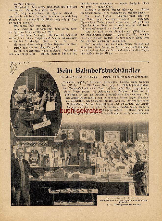 Artikel Oskar A. Klaußmann: Beim Bahnhofshändler - hierzu 11 photographische Aufnahmen. Buchhandlungen auf den Bahnhöfen in Berlin, Köln, Dresden, Frankfurt a.M., Wien, Rostock, Danzig, Essen (DW07/33)