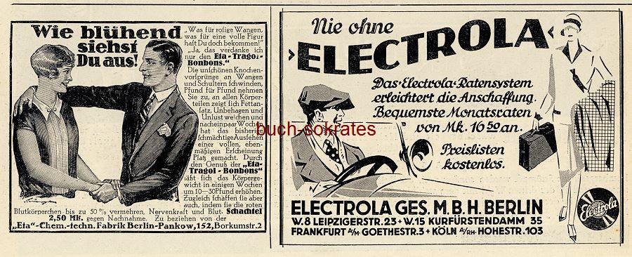 Werbe-Anzeige / Werbung/Reklame Eta-Tragol-Bonbons / Electrola Plattenspieler - Electrola GmbH, Berlin, Leipzigerstr. 23 (BI28/31)