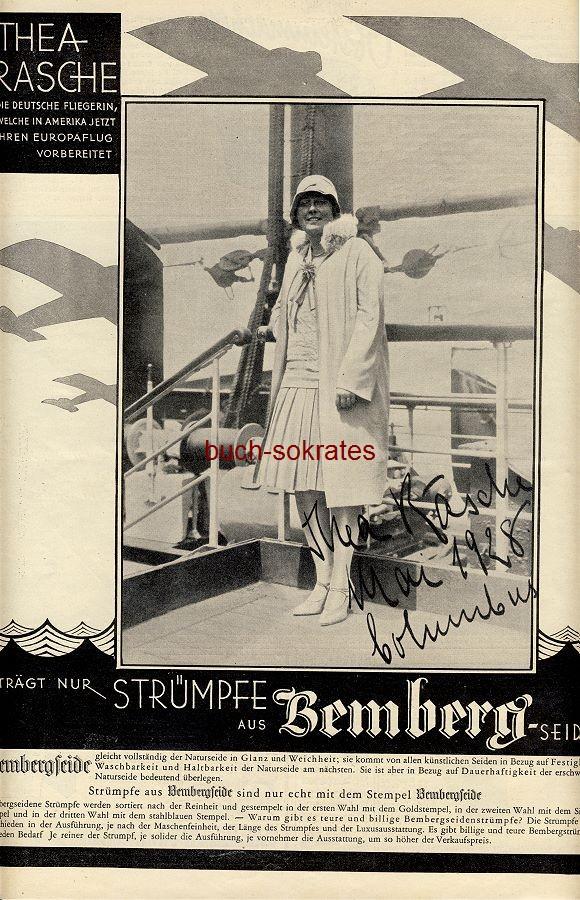 Werbe-Anzeige / Werbung/Reklame Strümpfe aus Bembergseide - Testimonialwerbung mit der Pilotin Thea Rasche (BI28/31)