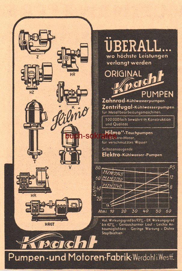 Werbe-Anzeige / Werbung/Reklame Kracht Pumpen - Kracht Pumpen- und Motoren-Fabrik, Werdohl i. Westf. (VD38/28)