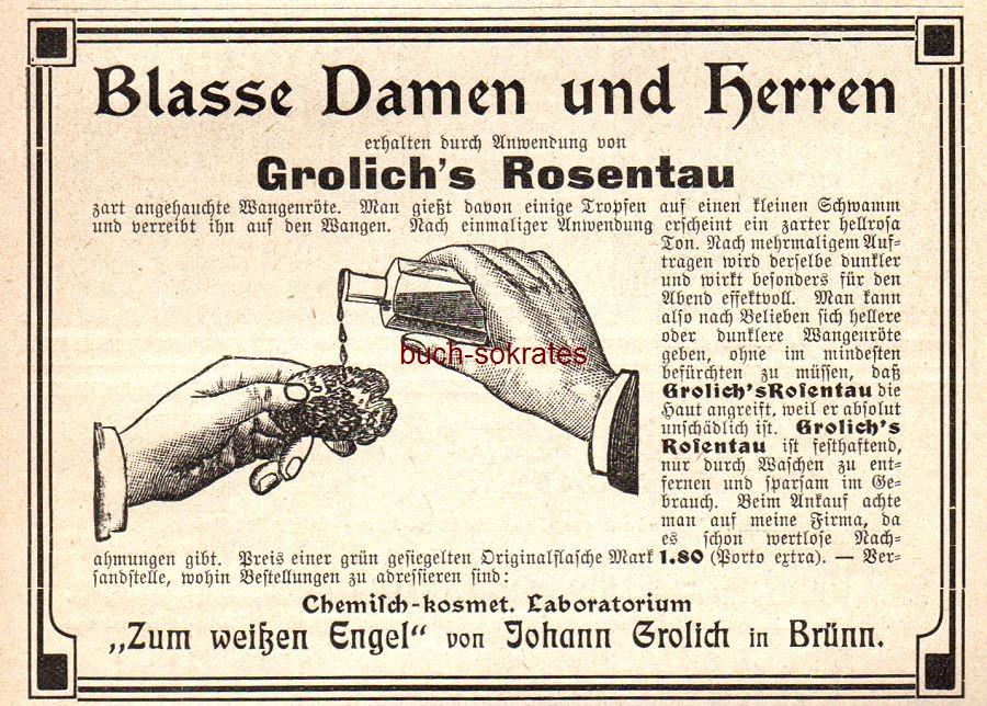 Werbe-Anzeige / Werbung/Reklame Grolich s Rosentau für Wangenröte - Chemisch-kosmetisches Laboratorium