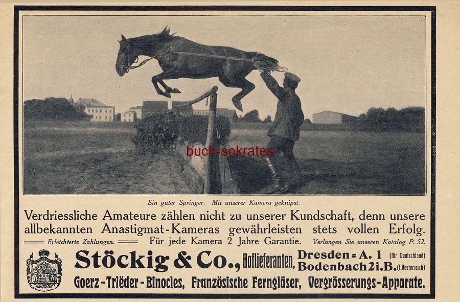 Werbe-Anzeige / Werbung/Reklame Anastigmat-Kameras - Stöckig & Co., Dresden (DW09/29)