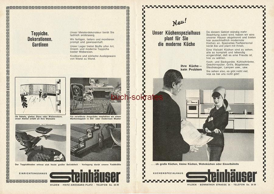 Werbe-Anzeige / Werbung/Reklame Einrichtungshaus Steinhäuser - Stilmöbel, Teppiche, Dekorationen, Gardinen, Küchen - Einrichtungshaus Steinhäuser, Hilden, Fritz-Gressard-Platz (SE64)