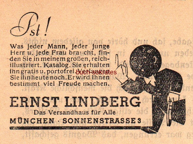 Werbe-Anzeige / Werbung/Reklame Versandhaus Ernst Lindberg, München, Sonnenstraße 3 - Das Versandhaus für Alle (SP38)