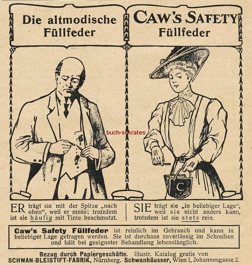 Werbe-Anzeige / Werbung/Reklame Caw s Safety Füllfeder (DW08)