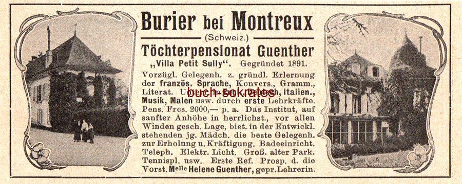 Werbe-Anzeige / Werbung/Reklame Töchterpensionat Guenther, Burier bei Montrieux - Villa Petit Sully - Vorst. Melle. Helen Guenther, gepr. Lehrerin (DK07)